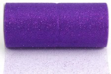 "6"" Glitter Tulle Roll, 10 yards- Purple"