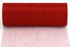 "6"" Glitter Tulle Roll, 10 yards- Red"