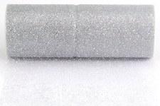 "6"" Glitter Tulle Roll, 10 yards- Silver"