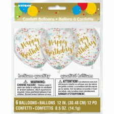 "12"" Confetti Balloons, 6ct- Happy Birthday w/ Multi-Colors"