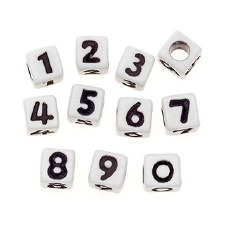 Number Beads, 80ct- White Cubes