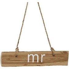 Wood Hanging Sign w/ Jute- Mr