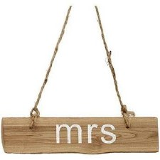 Wood Hanging Sign w/ Jute- Mrs