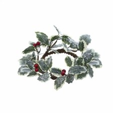"""7"""" Frosted Holly Berry Candle Ring"""