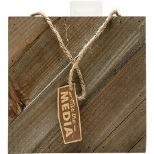 "Mix the Media Diagonal Rustic Plaque, 8""x8"""