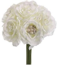Wedding Bouquet- White Rose w/ Pearls