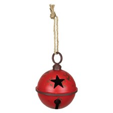 Red Rustic Jingle Bell, 9""