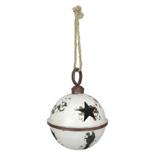 White Rustic Jingle Bell, 9""