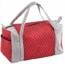 Fabric Duffle Bag-Burg/Grey