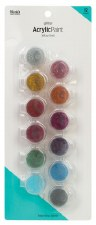 Nicole Acrylic Paint Pots, 12ct- Glitter Assortment