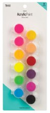 Nicole Acrylic Paint Pots, 12ct- Neon Assortment