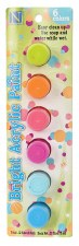 Nicole Acrylic Paint Pots, 6ct- Brights Assortment