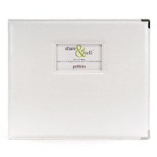 American Crafts 12x12 D-Ring Album- White Faux Leather