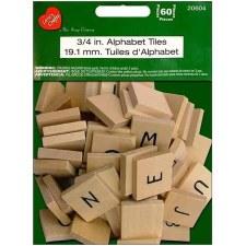 """Wood Alphabet Tiles- 3/4"""""""