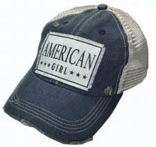 Women's Trucker Baseball Cap- American Girl, Dark Blue