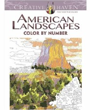 Creative Haven Color-by-Number Adult Coloring Book- American Landscapes