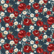 American Legacy Bolted Fabric- Main Floral, Blue