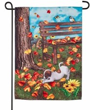 "Garden Flag, 12""x18""- Autumn Puppy Fun"