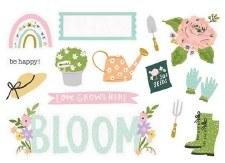 Bunnies + Blooms Die Cuts- Page Pieces