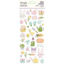 Bunnies + Blooms Stickers- Puffy