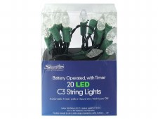 LED Lights C3 String 6.3' White and Green 20ct.