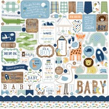 Baby Boy Stickers- 12x12 Sheet