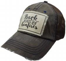 Women's Trucker Baseball Cap- Back Roads & Bonfires, Brown