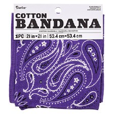 "Cotton Bandana 21""x21""- Paisley Purple"