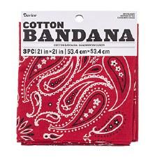 "Cotton Bandana 21""x21""- Paisley Red, 3pk"