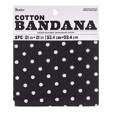 "Cotton Bandana 21""x21""- Swiss Dots Black"