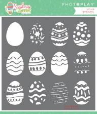 Baskets of Bunnies 6x6 Stencil- Eggs