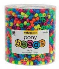 Bead Tub, 1lb- Pony Bead Assortment, Neon