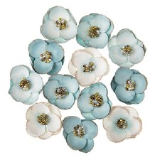 Floral Beaded Embellishments, 12ct- Blue