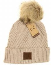 CC Knit Beanie, Cuffed Diagonal w/ Heathered Pom- Beige Mix