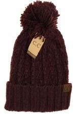 CC Knit Beanie, Slipstitch w/ Pom- Berry