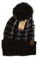 CC Knit Beanie, Slipstitch w/ Pom- Ombre Black