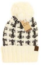CC Knit Beanie, Slipstitch w/ Pom- Ombre Ivory