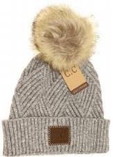 CC Knit Beanie, Cuffed Diagonal w/ Heathered Pom- Light Grey