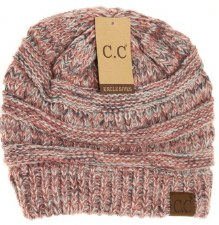 CC Knit Beanie, Diagonal Stitch- Mauve Mix