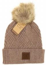 CC Knit Beanie, Cuffed Diagonal w/ Heathered Pom- Taupe Mix