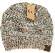 CC Knit Beanie, Diagonal Stitch- Taupe + Mint Mix