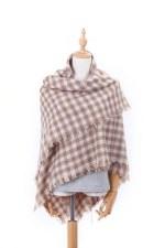 Blanket Scarf- Beige & Cream Checkered Plaid