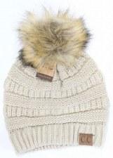 CC Knit Beanie w/ Fur Pom- Beige