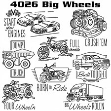 Aunt Martha's Iron On Transfers- Big Wheels #4026