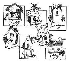 Aunt Martha's Iron On Transfers- Birdhouses #3922