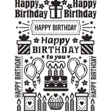 Darice Embossing Folder- Celebrations- Birthday Collage
