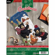 Bucilla Felt Stocking Kit- Black Bear Bonfire