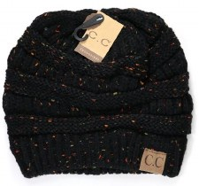 CC Knit Flecked Beanie- Black