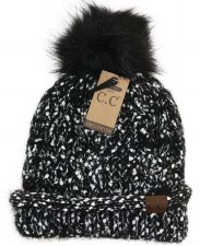 CC Knit Beanie w/ Fur Pom- Eyelash Yarn, Black