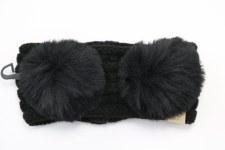 Kid's CC Knit Double Pom Headband- Black
